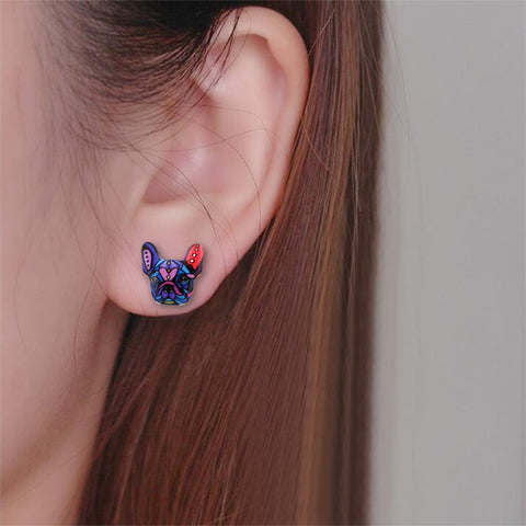 Image of Colorful French Bulldog Earrings