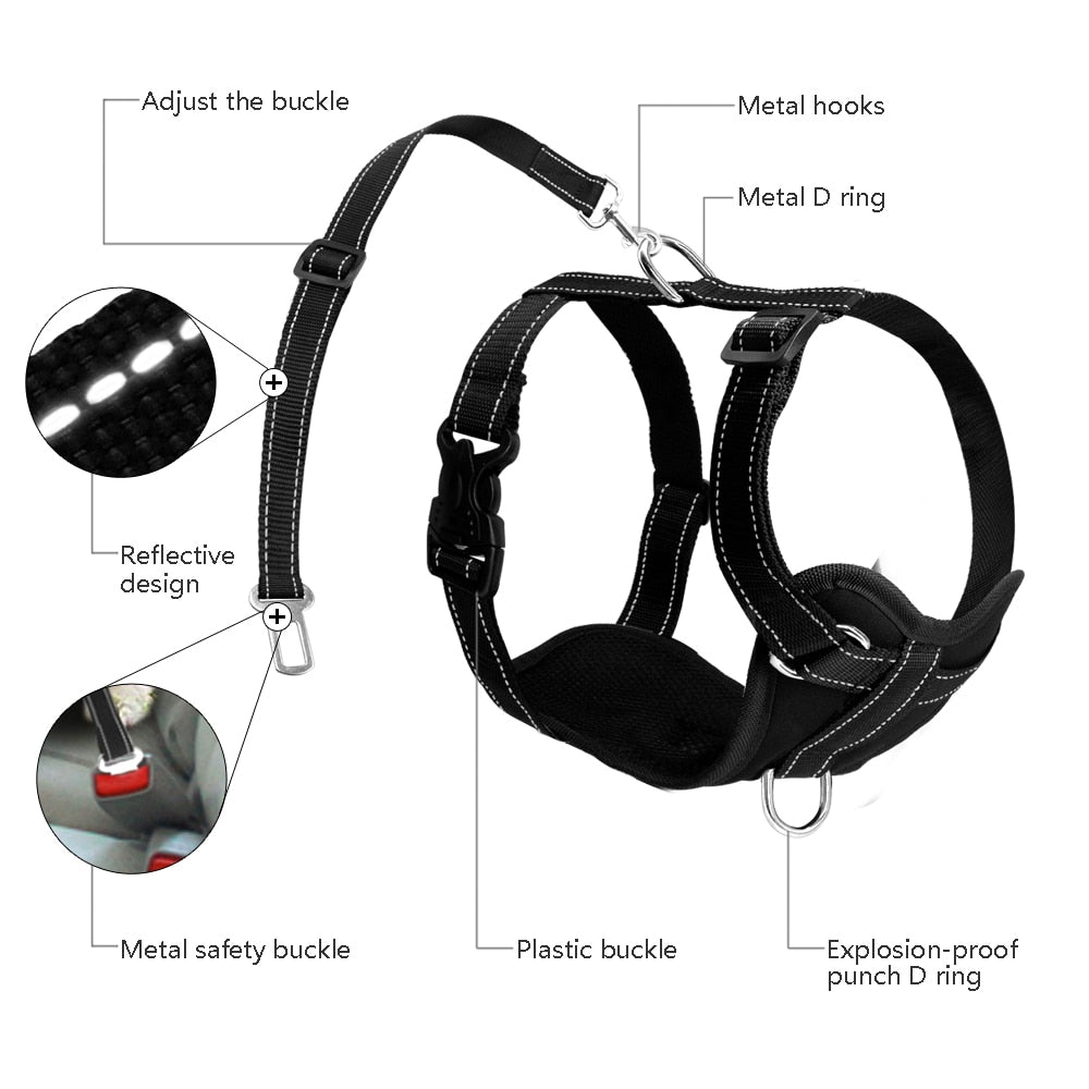Dog Harness With Safety Car Seat Strap