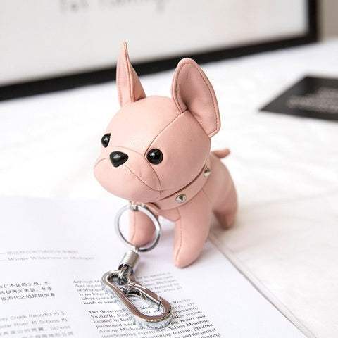 Image of Bulldog Keychain Pu Leather