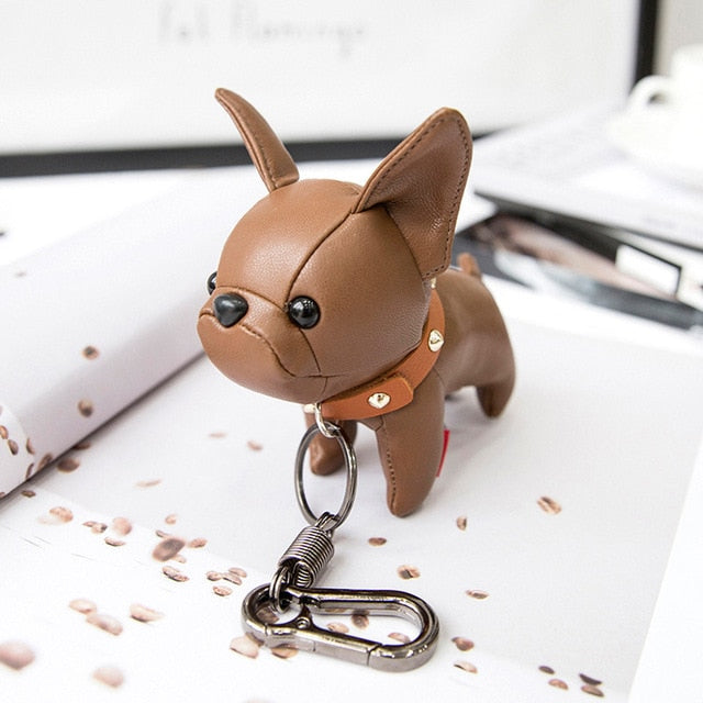 Bulldog Keychain Pu Leather