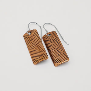 Copper Woven Textured Rectangle Drop Earrings - One of a Kind