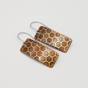 Copper Honeycomb Textured Rectangle Drop Earrings - One of a Kind