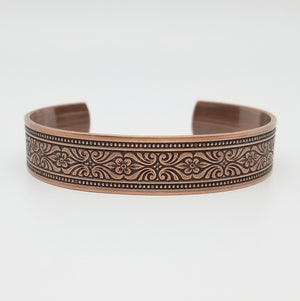 LIMITED EDITION Bordered Scrolling Flowers Copper Cuff Bracelet - Vintage Modern Collection