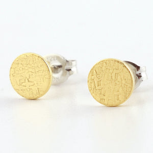 Brass Circle Post Earrings--Stardust Texture