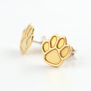 Paw Prints Brass Stud Earrings