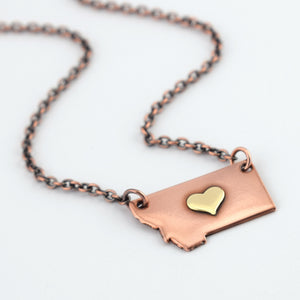 Copper Montana Necklace with Brass Center Heart
