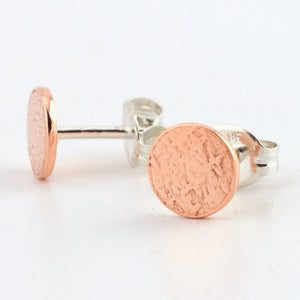 Copper Circle Post Earrings--Stardust Texture