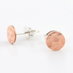 Copper Circle Post Earrings--Traditional Hammer Texture