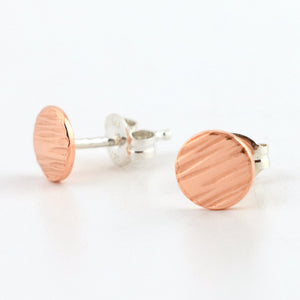 Copper Circle Post Earrings--Lines Texture