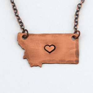 Copper Love Your State Necklace