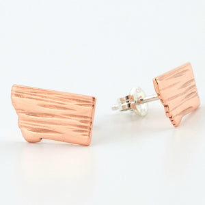 Copper Montana Post Earrings--Lines Texture