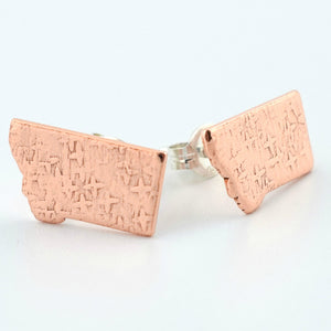 Copper Montana Post Earrings--Stardust Texture