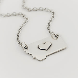 Fine Silver Montana Necklace with Silver Center Heart