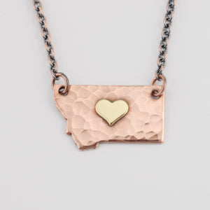 Hammered Copper Montana Necklace with Brass Center Heart