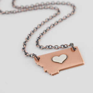 Copper Montana Necklace with Silver Center Heart