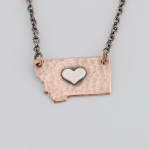 Hammered Copper Montana Necklace with Silver Center Heart