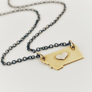 Brass Montana Necklace with Silver Center Heart