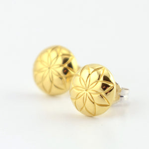 Domed Flower-Pattern Brass Circle Stud Earrings