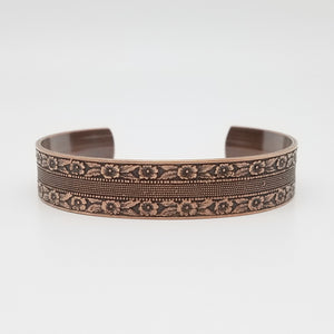 LIMITED EDITION  Floral and Dots Stripe Copper Cuff Bracelet - Vintage Modern Collection