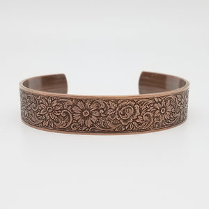 LIMITED EDITION Flower and Flourish Copper Cuff Bracelet - Vintage Modern Collection