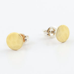 Brass Circle Post Earrings--Traditional Hammer Texture