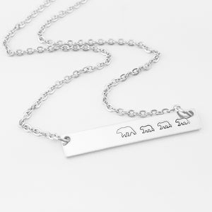 Mama Bear with Three Cubs Necklace