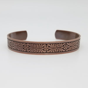 LIMITED EDITION Scrolling Flowers Copper Cuff Bracelet - Vintage Modern Collection