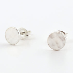 Fine Silver Circle Post Earrings--Traditional Hammer Texture