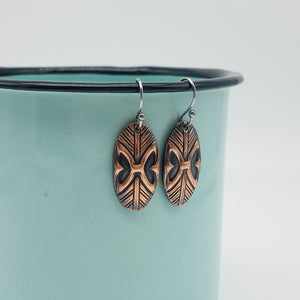 Tribal Ovals Copper Earrings - Vintage Modern Collection