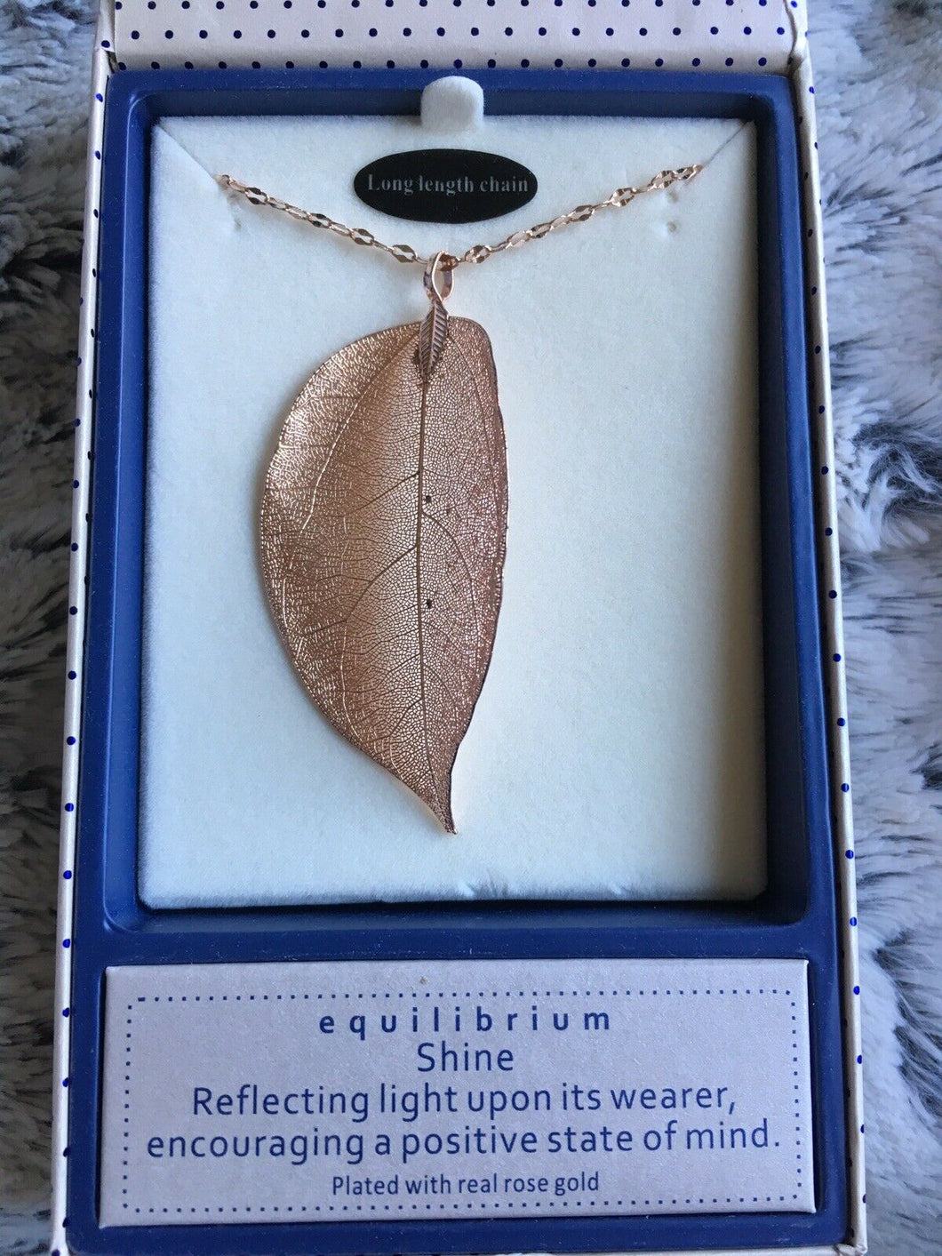 Equilibrium Long Leaf Necklace - Rose Gold