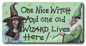 Nice Witch & Old Wizard Fridge Magnet