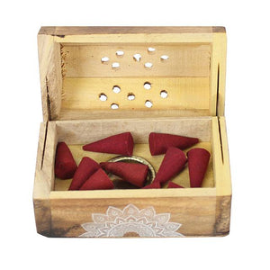 Rose Scented Wooden Incense Cone Gift Set