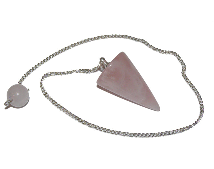 Rose Quartz Cone Pendulum with Beaded End on Chain