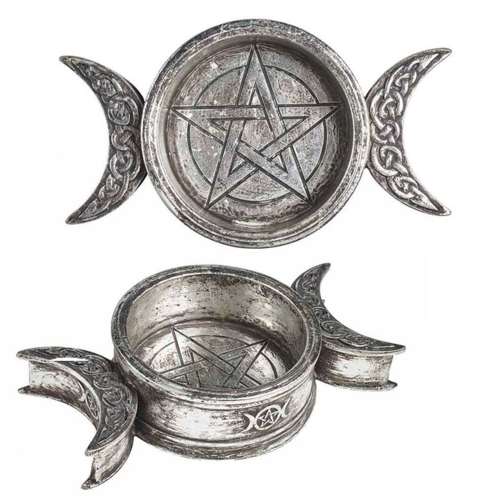 Alchemy Gothic Triple Moon Trinket Dish/Candle Holder
