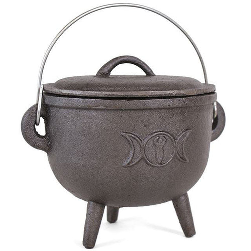 Cast Iron Cauldron With Triple Moon - 15cm