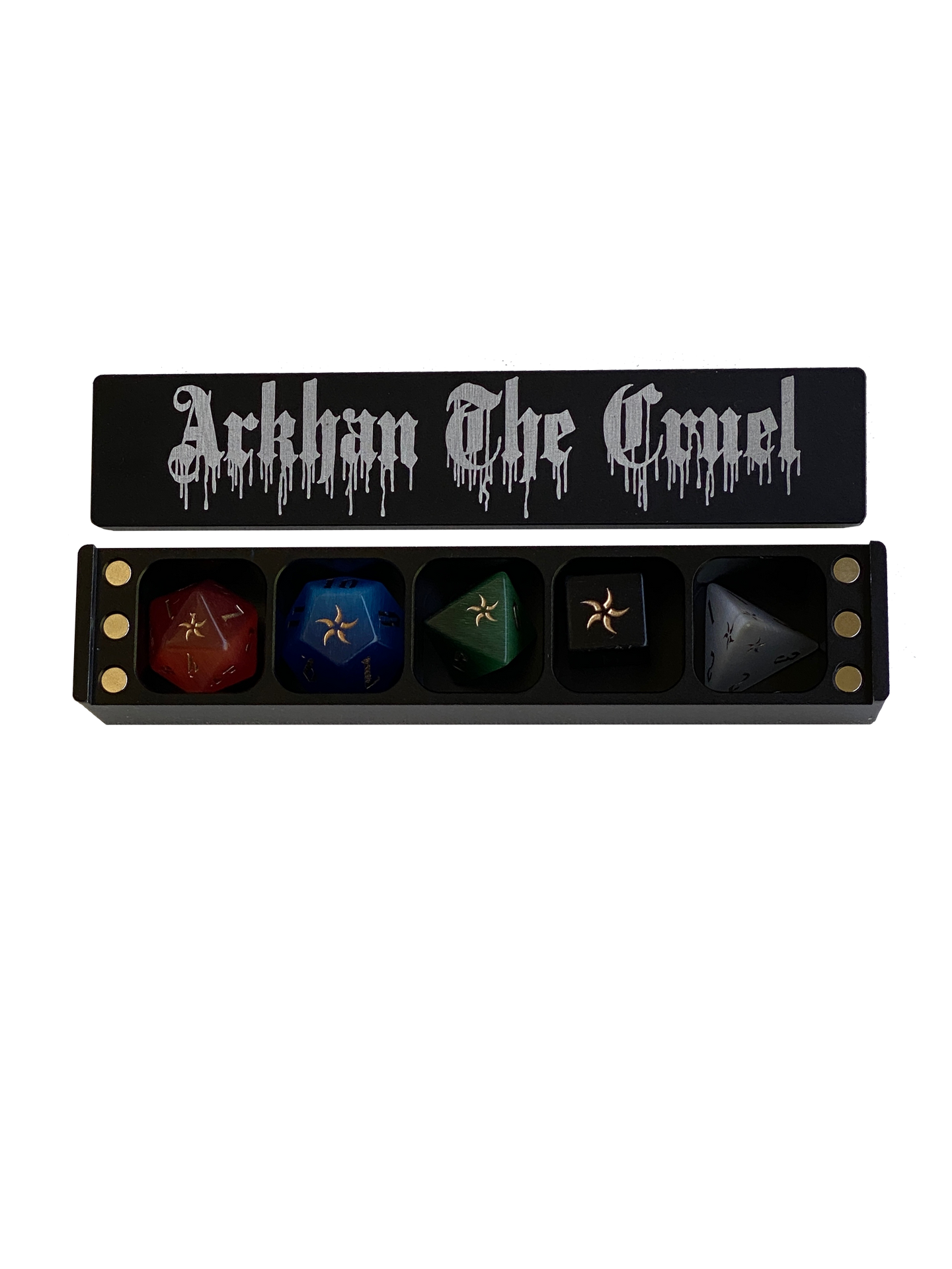 ARKHAN THE CRUEL™ Chromatic Colored (Old School) 5-Dice Set with Black Metal Coffin