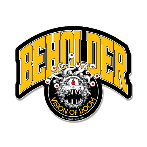 D&D Beholder Sticker (Yellow) Art by Ryan Burgdorfer