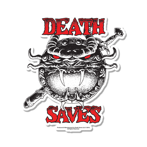 D&D 80's Cartoon Dragon Shield Sticker (White)