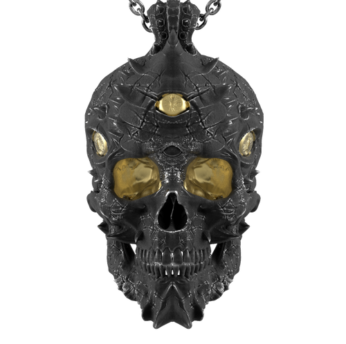 Cursed Skull Of The Dragon Wizard Pendant | Duality
