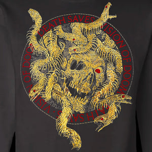 Embroidered Medusa Crewneck Sweatshirt (Black/Gold)