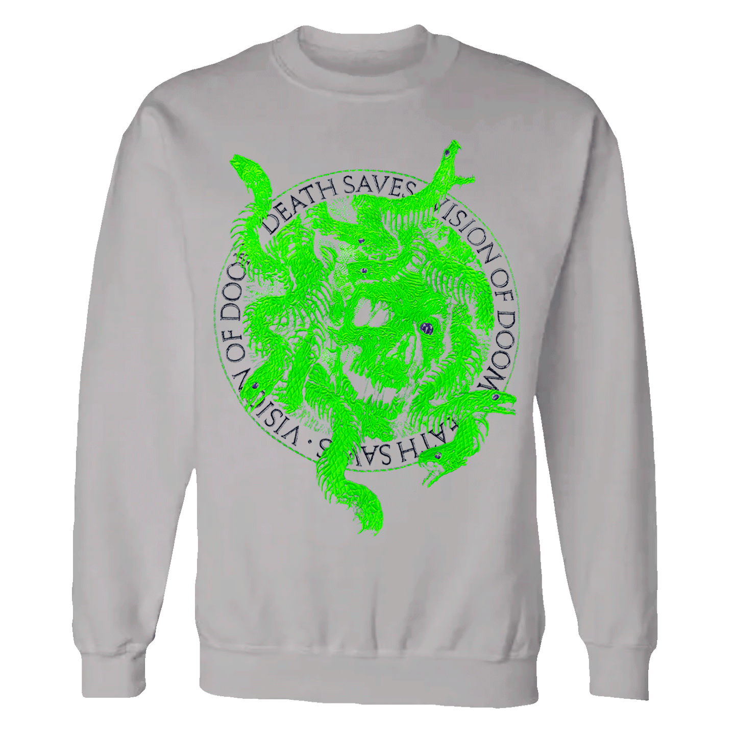 Embroidered Medusa Crewneck Sweatshirt (Grey/Green)