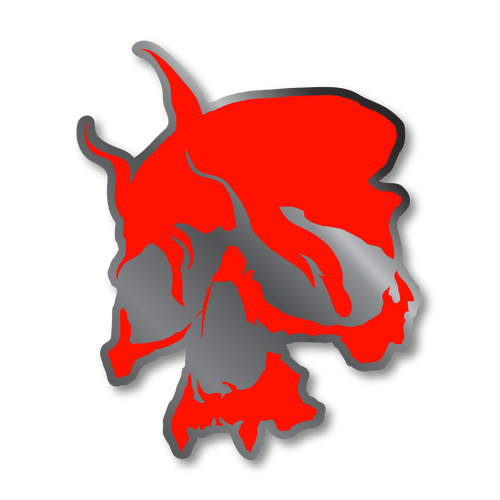Smoking Skull Pin (Red)