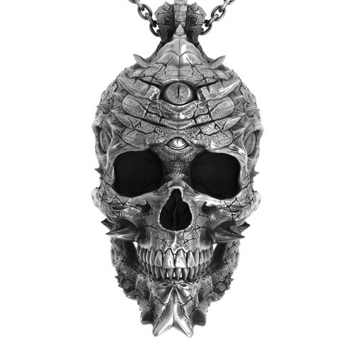 Cursed Skull Of The Dragon Wizard Pendant | Silver