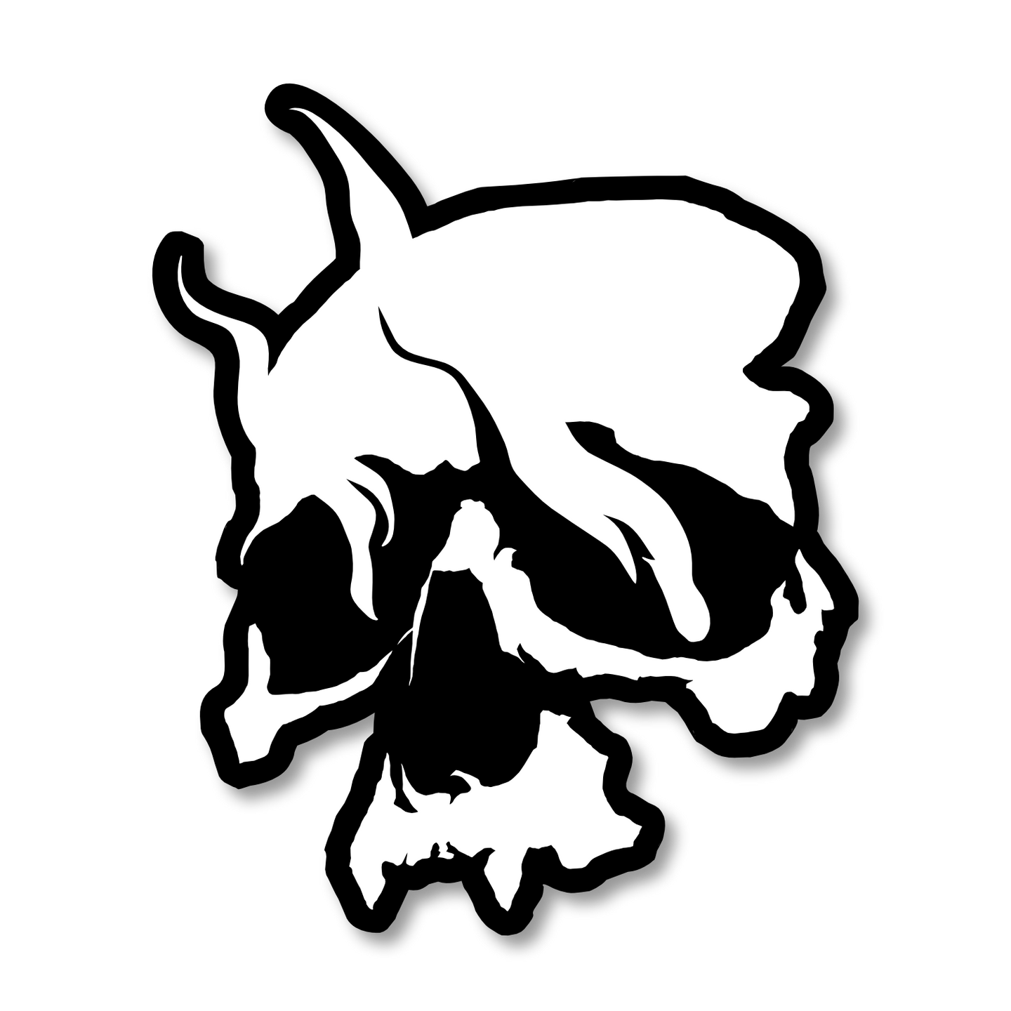 Smoking Skull Patch (White)