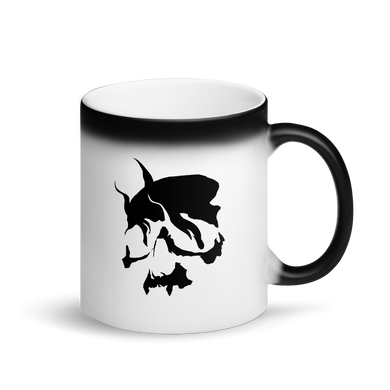 Smoking Skull Matte Black Magic Mug