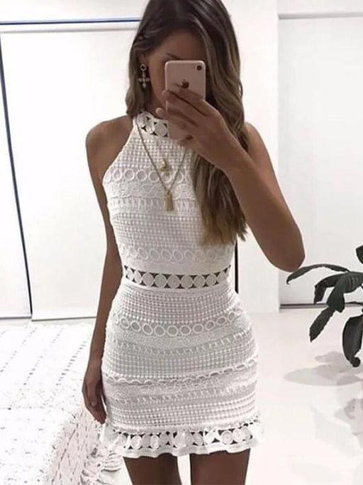 Hook flower sleeveless bag hip sexy mini dress