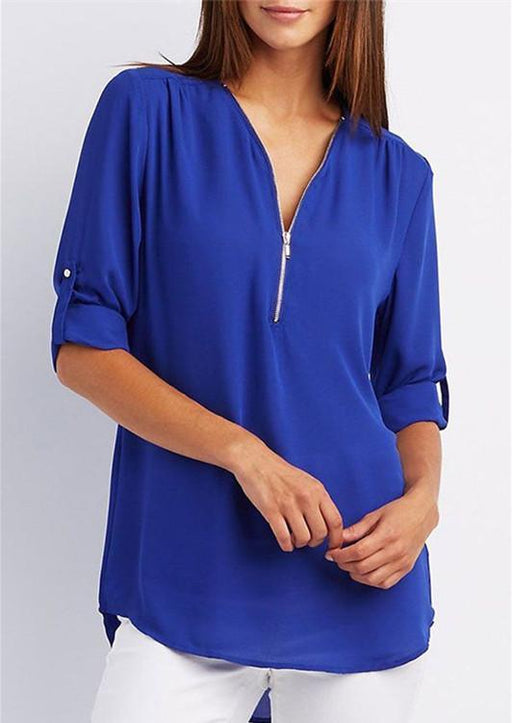V-neck zipper large size women's long-sleeved sleeves loose chiffon blouse