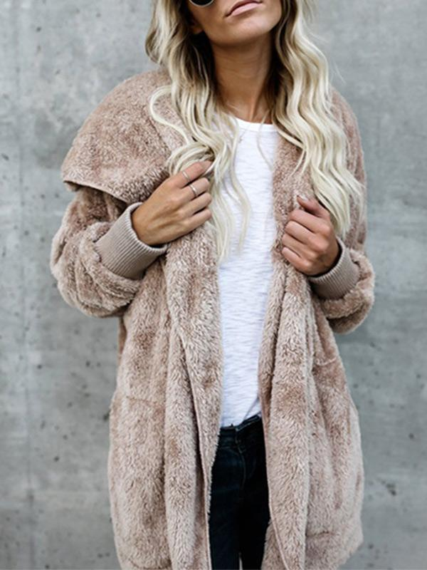 2-purpose faux fur hooded three-quarter coat