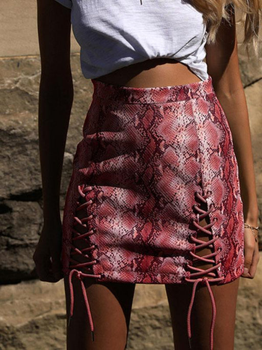 Printing cross lace-up skirt