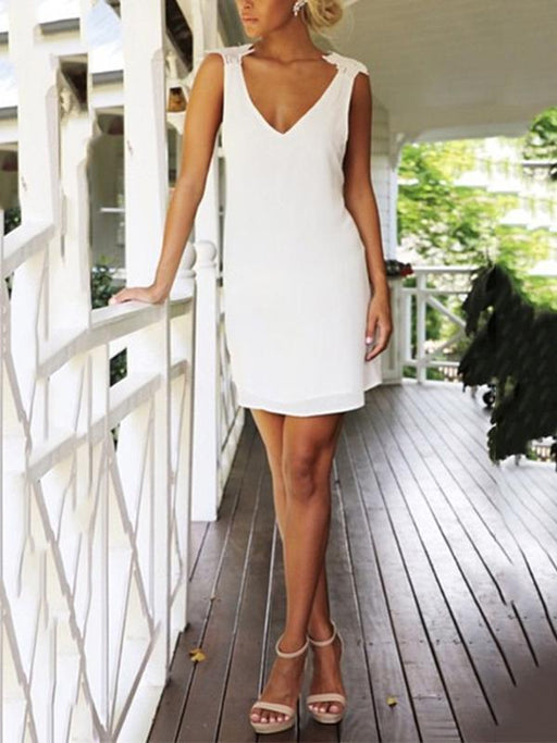 Sexy sleeveless backless criss cross splicing mini dress